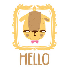 Scandinavian style cat with hello inscription and frame. Vector hand drawn cute illustration.