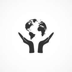 Vector image of icon hands holding the earth.