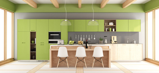 Green and gray modern kitchen