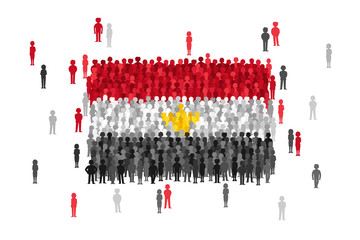 Vector Egypt state flag formed by crowd of cartoon people