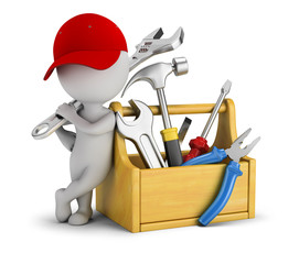 3d small people - repairman near the toolbox