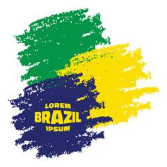 Grunge Smears, using Brazil flag colors. Vector illustration.