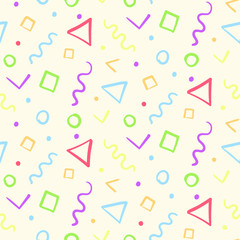Light kids seamless pattern with color shapes in memphis style. Abstract trendy texture with colorful hand drawn shapes confetti for textile, wrapping paper, cover, surface, background, wallpaper