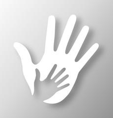 Caring hand applique logo. Vector illustration.