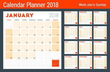 Calendar planner for 2018 year. Week starts on Sunday. Printable vector design template. Stationery design