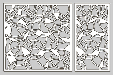 Template for cutting. Abstract circle pattern. Laser cut. Set ratio 1:1, 1:2. Vector illustration.