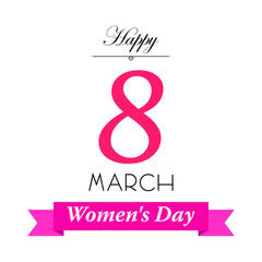 Icono plano Happy 8 March y Women s Day en cinta en fondo blanco