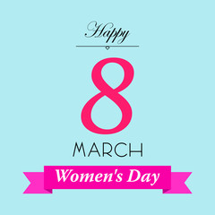 Icono plano Happy 8 March y Women s Day en cinta en fondo azul