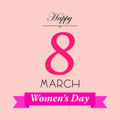 Icono plano Happy 8 March y Women s Day en cinta en fondo rosa