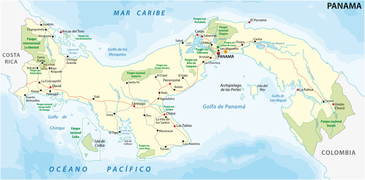 panama road and national park vector map