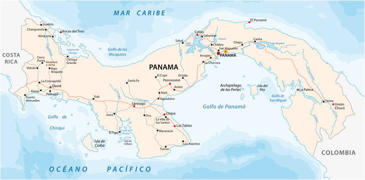panama road vector map