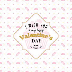Happy Valentines Day typography greeting card. Vector design template with seamless background and romantic signs
