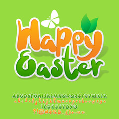 Vector Fresh Spring Greeting Card Happy Easter. Set of Nice Sticker Style Alphabet with Green and Yellow Letters, Numbers and Symbols