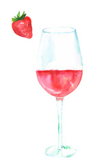 Glass of rose wine and strawberry, watercolour, isolated on white