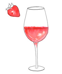 Vector and watercolor drawing of glass of rose wine with strawberry