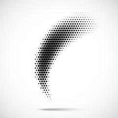 Halftone circle dots design element. Vector emblem or logo using halftone texture.