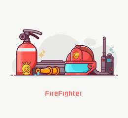 Fire fighter lifestyle concept illustration with firefighting equipment. Such as helmet, extinguisher, hydrant and fireman badge in outline flat design. Fire department banner or background.