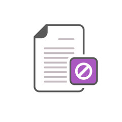 Blocked document file page restricted sign icon