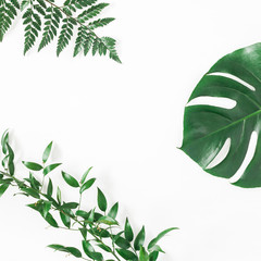 Green tropical leaves on white background. Flat lay, top view, square, copy space