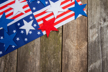 American flag and stars on wooden background. Presidents day.