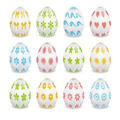 set of white Easter eggs with patterns