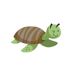 Cartoon marine turtle. Trendy design flat icon sea and ocean animal. Cheerful and closed eyes. Wildlife vector illustration.