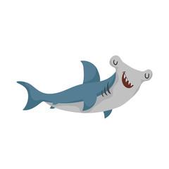 Cartoon hammerhead fish. Trendy design shark flat icon. Cheerful and closed eyes. Wildlife vector illustration.