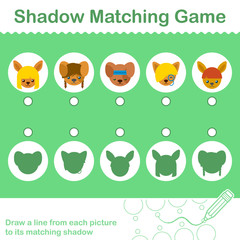 Kids animal learning game, find the correct shadow