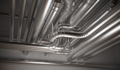HVAC (heating, ventilation and air conditioning) pipes. 3D rendedered illustration.