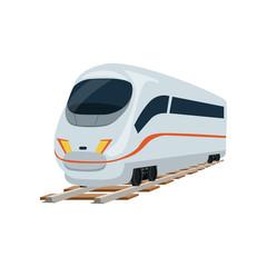 Speed modern white railway train locomotive, passenger waggon vector Illustration