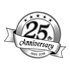 25th anniversary design template. Vector and illustration.