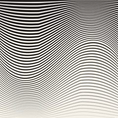 Abstract black and white halftone vertical waves stripes pattern.