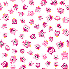 pattern with funny pink owls on white background