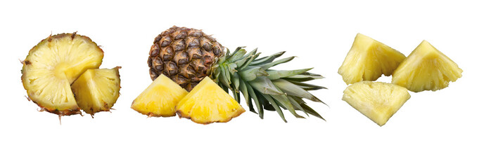 pineapple and pineapple slices isolated on white background