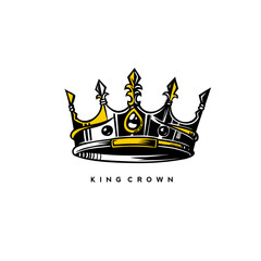 silver and gold king crown vector illustration.