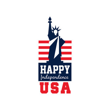 Creative logo with Statue of Liberty and US flag. Independence day. National holiday. Happy 4th of July. Flat vector design for emblem, postcard, banner