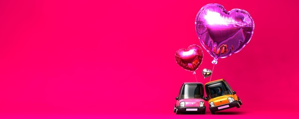 Heart foil balloon with sweet couple car toy on pink background, 3D Illustration.