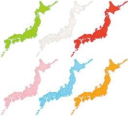 日本地図 手書き カラフル