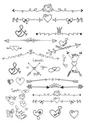 Set of design elements. hand drawn wreaths, dividers, headers, hearts and other floral elements for your designg illustration.