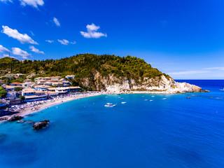 Panoramic view of Agios Nikitas Beach in Lefkada, Greece. Aerial view.