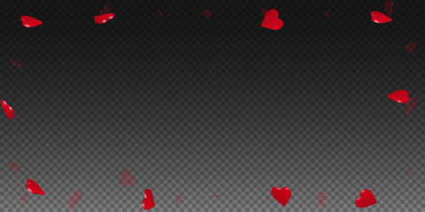 3d hearts valentine background. Wide scattered frame on transparent grid dark background. 3d hearts valentines day flawless design. Vector illustration.