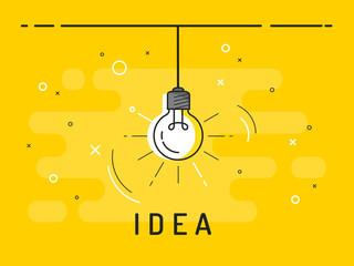 Light bulb with rays shine. Idea symbol.Trendy flat vector on yellow background. Vector Illustration.