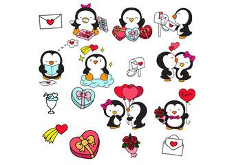 Set cute romantic penguins. Vector illustration.