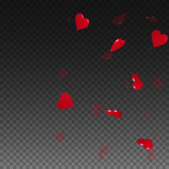 3d hearts valentine background. Right gradient on transparent grid dark background. 3d hearts valentines day magnificent design. Vector illustration.