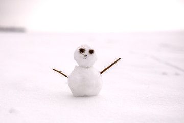 Photo of snowman in winter