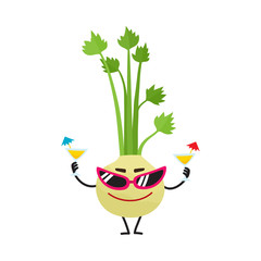 Funny celery character with human face wearing sunglasses, holding cocktails, cartoon vector illustration isolated on white background. Cartoon celery character in sunglasses, summer vacation concept