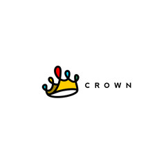 red,yellow,blue combination of crown logo vector illustration