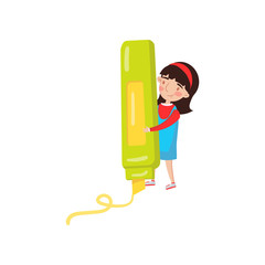 Cute girl with giant highlighter, preschool activities and early childhood education cartoon vector Illustration