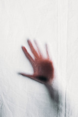 blurry silhouette of human hand touching veil