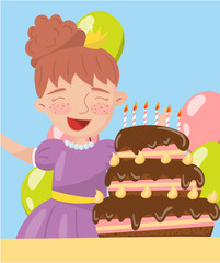 Happy young woman holding birthday cake photo, best moments on pictures, portrait of family members vector Illustration